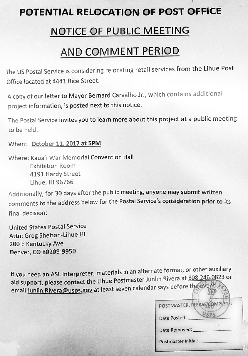 4 27 17 Update On The Campaign To Save Lihue Post Office